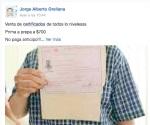 Venden certificados en Facebook de nivel básico y medio superior