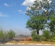 Autodepósito y gasolinera en riesgo por voraz incendio de pastizal