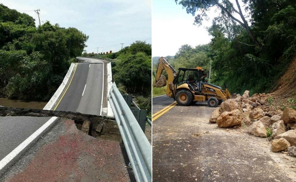 El sismo también afectó la autopista México Acapulco, tramo Cuernavaca-Chilpancingo, donde colapsó un puente en carriles dirección sur.