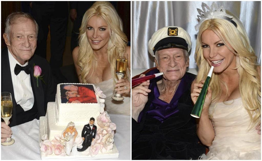 Hugh Hefner volvió a casarse en 2012 con otra de sus musas, la joven Crystal Harris, modelo de 31 años, viuda y heredera del imperio Playboy. Al momento del enlace, Hefner tenía 86 y ella 60 años menos que él. Foto: Archivo