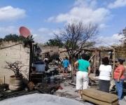 Incendio consume dos viviendas en el ejido Buena Vista municipio de Río Bravo