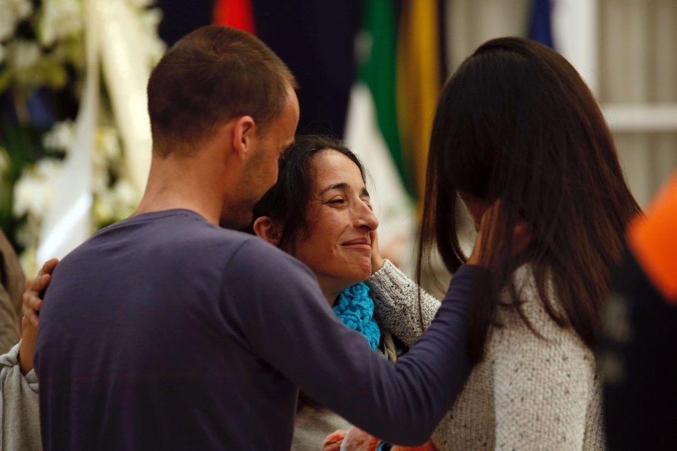 Patricia Ramírez durante la capilla ardiente de su hijo, Gabriel Cruz.