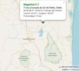 Nuevo sismo de 3.7 grados Richter cerca de Victoria