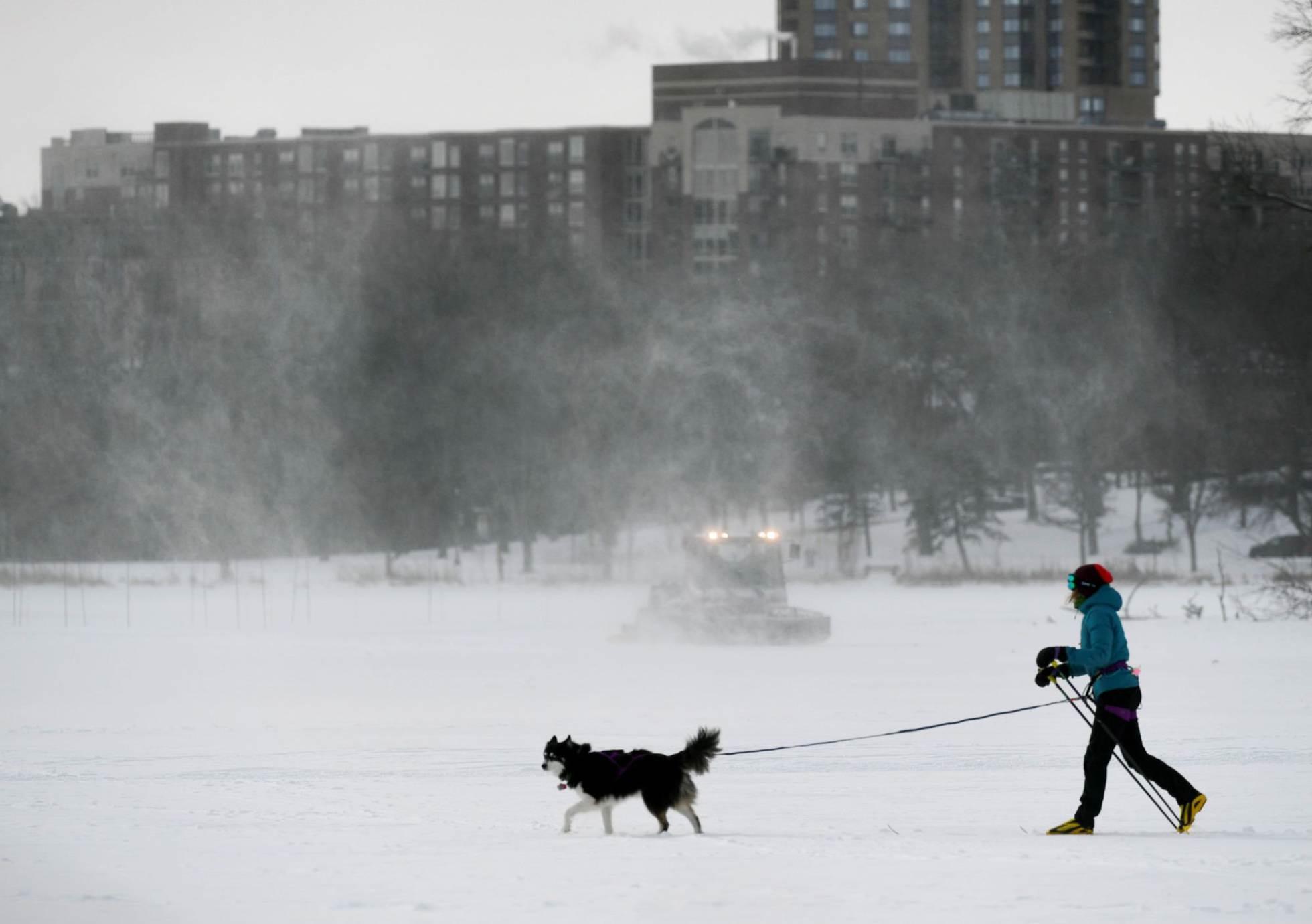 Una mujer sale a paser a su perro en Minneapolis (Minnesota).