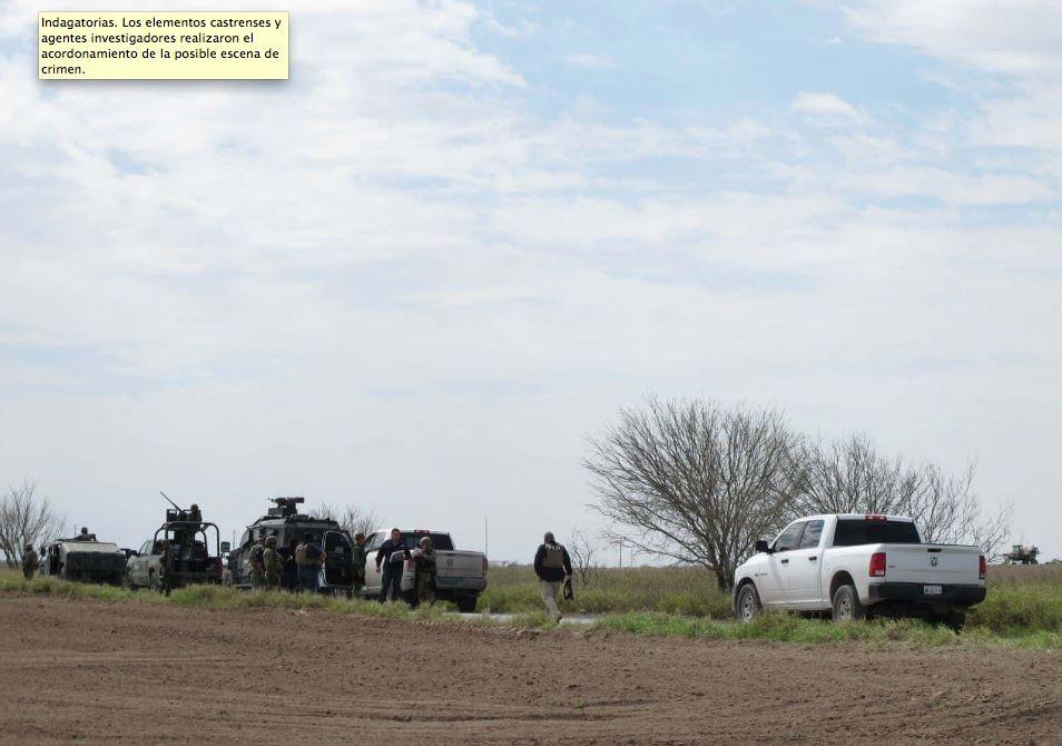 Indagatorias. Los elementos castrenses y agentes investigadores realizaron el acordonamiento de la posible escena de crimen.