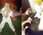 Miley Cyrus, semidesnuda y con máscara de puerco