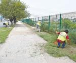 Retiran maleza de Parque Lineal