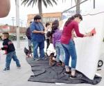 Realizan niños y niñas mural para festejos de Fundación de Reynosa